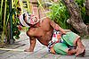 巴厘岛小丑后的性能比较 | 免版税照片
