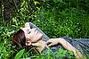 Pretty woman in grass | Stock Foto