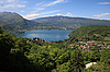 Lake Annecy in the French Alps   Stock Foto