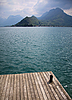 View from wooden jetty over Lake Annecy   Stock Foto