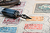 Old pen and letter    Stock Foto