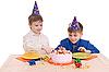 Photo 300 DPI: two boy wich cake