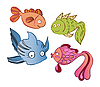 Vector clipart: Little emotional fish