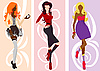 Vector clipart: Silhouettes of cute fashion women