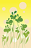 Vector clipart: Simple yellow green floral card