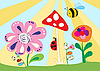 Vector clipart: Cheerful children`s meadow