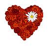 Векторный клипарт: Сердце из роз и ромашки