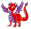 Vector clipart: Red dragon with purple wings