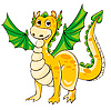 Vector clipart: Golden Dragon with green wings