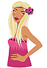 Vector clipart: Blonde woman in pink with flower