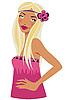 Блондинка в розовом с цветочным