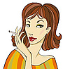 Векторный клипарт: Темноволосая женщина с сигаретой