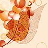 Vector clipart: autumn leaf and bright balls