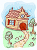 cartoon house and trees