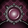 Vector clipart: round vintage frame on damask background