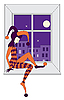 Sad harlequin sleeping on windowsill | Stock Vector Graphics