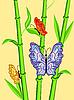 Vector clipart: butterflies on bamboo