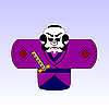 Vector clipart: japanese cartoon samurai with sword
