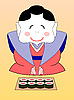 cartoon japanese geisha with sushi