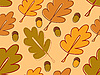 Vector clipart: seamless background with oak leaves and acorns