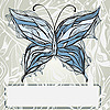 Vector clipart: butterfly in vintage style and frame
