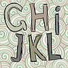Vector clipart: ghijkl doodle letters