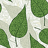 Vector clipart: seamless vintage green leaves