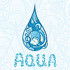 Vector clipart: abstract drop of water with aqua letters