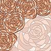 Векторный клипарт: фон с розами в стиле витражного стекло