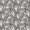 Seamless abstract monochrome floral pattern | Stock Illustration