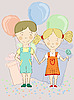 Vector clipart: boy and girl with air balloons