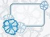 Векторный клипарт: синяя цветочная рамка