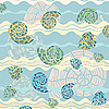 Vector clipart: background with sea shells and waves