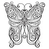 Vector clipart: monochrome butterfly
