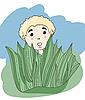 Vector clipart: little boy hiding behind the grass