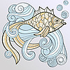 Vector clipart: fish on splash of water