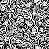 Vector clipart: monochrome floral background with flowers