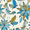 Vector clipart: seamless background with plants, birds and butterflies