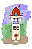 Векторный клипарт: мультфильм средневековый дом