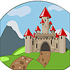 cartoon castle with mountains