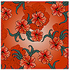 spring pattern with hibiscus flowers and leaves