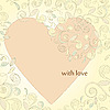 Vector clipart: card with heart and floral ornament