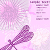 Vector clipart: background with dragonfly and flowers