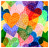 Vector clipart: seamless background of bright hearts