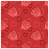 Vector clipart: seamless background with roses and hearts