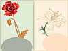 Vector clipart: cards with poppy and lily