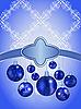 Векторный клипарт: новогодняя открытка с шарами и снежинками
