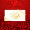 Vector clipart: greeting card on red ornament