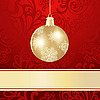 Векторный клипарт: новогодняя открытка с золотым шаром