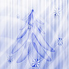fir tree on winter background with snowflakes